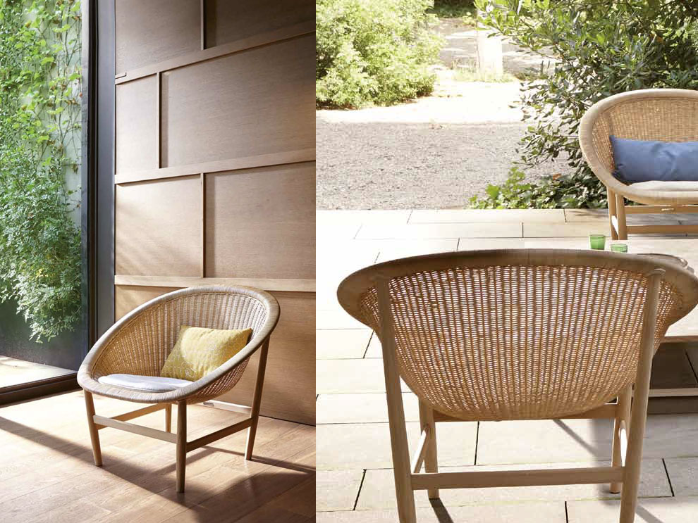 patio things basket chair by kettal braided in wicker