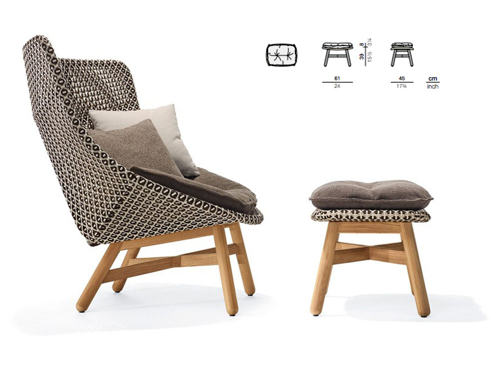 Mbrace Collection Dedon Lounge Chair Wing Chair Rocking Chair  Footstool Condominimum Poolside Furniture 03