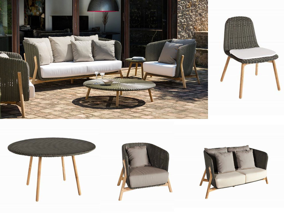 Patio things round patio furniture sets designed by for Sofa coffee table